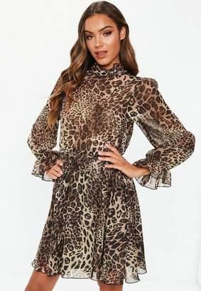 Missguided Brown Leopard High Neck Tie Waist Smock Dress