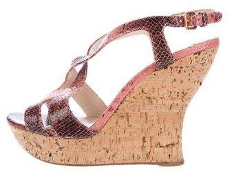 Miu MiuMiu Miu Snakeskin Wedge Sandals