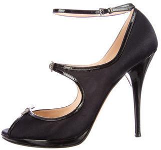 Casadei Patent Leather Trim Peep-Toe Pumps $85 thestylecure.com