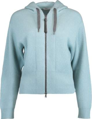 Brunello Cucinelli Cropped Zip Front Hooded Cardigan