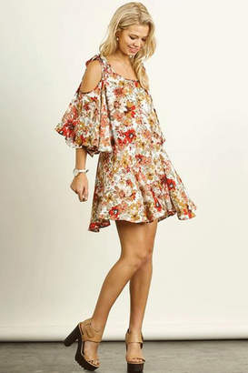 Umgee USA Cold Shoulder Floral Dress