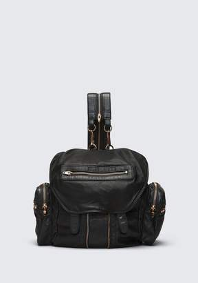 Alexander Wang MARTI BACKPACK IN WASHED BLACK WITH ROSE GOLD BACKPACK