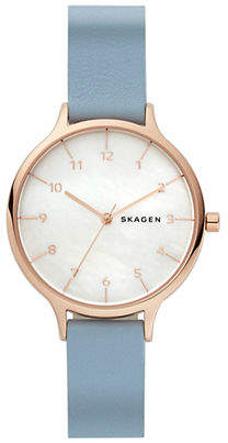 Skagen Womens Three-Hand Anita Mother-of-Pearl Blue Leather Watch