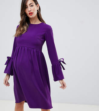 Queen Bee long sleeve skater dress with tie detail in purple