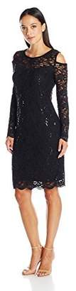 Tiana B Women's Petite Long Sleeve Cold Shoulder Floral Sequin Scallop Lace