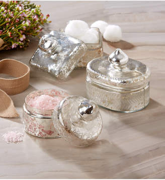 Twos Company Two's Company Two's Company Pentimento Set of 3 Vintage Trinket Boxes with Antiqued Pure Silver Finish Includes 3 Shapes - Oval, Round, Square