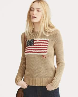 Ralph Lauren Flag Metallic Cotton Sweater