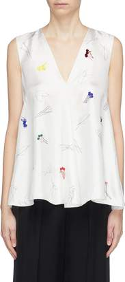 Theory Graphic embellished silk sleeveless top