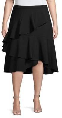 Vince Camuto Plus Tier Ruffle Crepe Midi Skirt