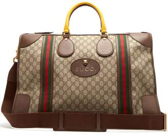 Gucci Gg Supreme Canvas And Leather Holdall - Mens - Brown Multi