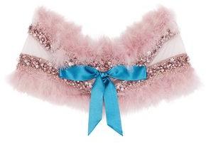 Reem Acra Faux Feather-Trimmed Embellished Tulle Shrug