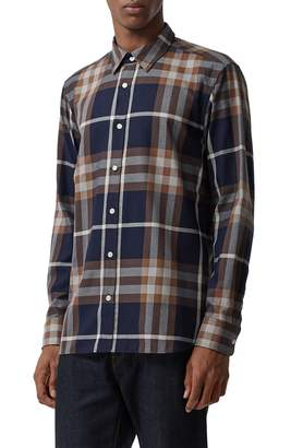 Burberry Richard Slim Fit Plaid Sport Shirt