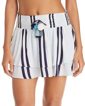 Surf Gypsy Stripe Ruffle Hem Skirt Swim Cover-Up
