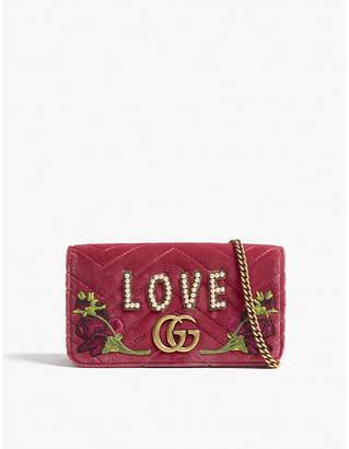 Gucci Marmont floral velvet clutch