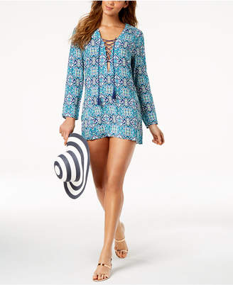 LaBlanca La Blanca Tuvalu Tapa Printed Lace-Up Tunic Cover-Up Women's Swimsuit