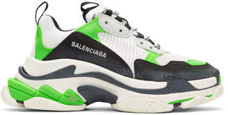 Balenciaga White and Green Triple S Sneakers