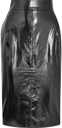 Glossed-leather Pencil Skirt - Black