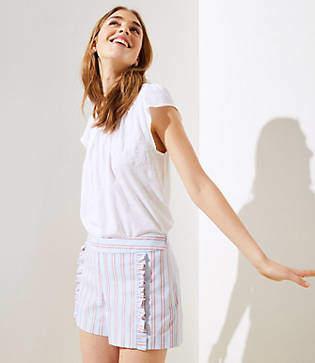 LOFT Petite Striped Ruffle Shorts