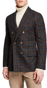 Men's Double-Breasted Plaid Blazer