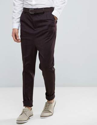 Asos DESIGN Drop Crotch Tapered Smart Pants With Heavy Turn Up In Burgundy
