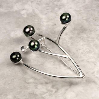 Farah Qureshi Botanical Pearl And Silver Brooch