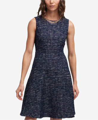 DKNY Tweed A-Line Necklace Dress