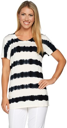 Lisa Rinna Collection Short Sleeve Striped Tie-Dye Knit Top