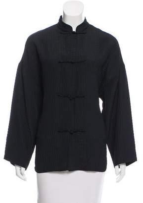 Eileen Fisher Wool-Blend Mandarin Collar Jacket