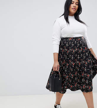 99d27e08c2d Influence Plus pleated midi skirt in floral and star print