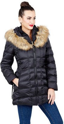Faux Fur Trimmed Short Puffer Coat With Corset $188 thestylecure.com