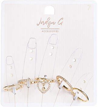HBC JORDYN G Five-Pack Heart and Crystal Rings