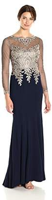 Xscape Evenings Women's Long Gown with Emb/Bead Top and Illusion Sleeves