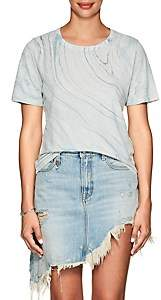 Raquel Allegra Women's Marble-Print Linen-Cotton T-Shirt-Blue