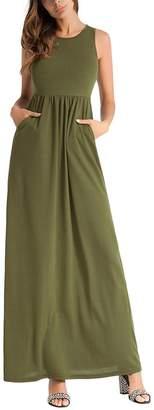 BISHE Women Sleeveless Empire Waist Summer Beach Long Tank Top Maxi Sundress Dress