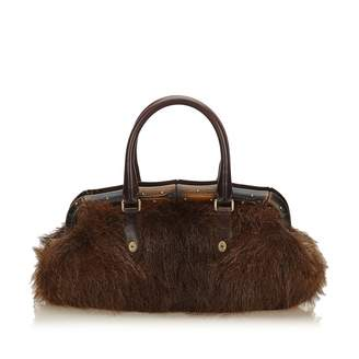 Gucci Bamboo Brown Mongolian Lamb Handbags