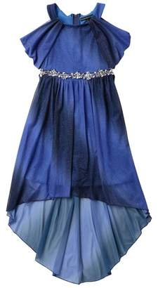 My Michelle mymichelle Off-the-Shoulder Ombre Hi-Lo Dress with Embellished Waist (Big Girls)