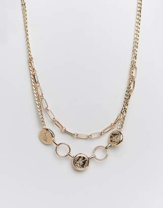 Missguided double layer chain and coin necklace in gold