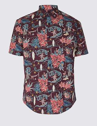 Marks and Spencer Pure Cotton Surfing Santa Christmas Shirt