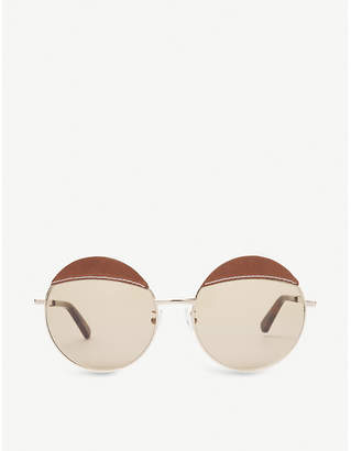 Loewe Leather-detail round-frame sunglasses