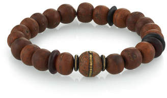 Mr. Lowe Men's Wood Bead Bracelet w/ Horn, Size M