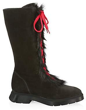 Stuart Weitzman Women's Gwendy Shearling-Lined Suede Lace-Up Knee-High Boots