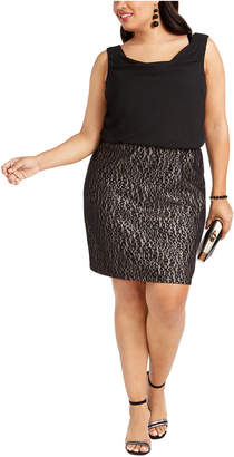 BCX Trendy Plus Size Lace-Skirt Sheath Dress