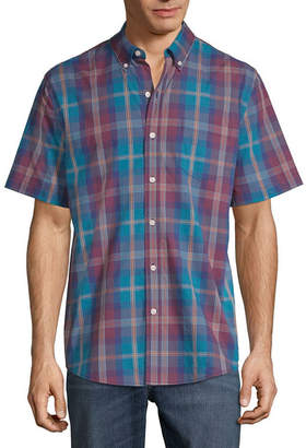 ST. JOHN'S BAY Short Sleeve Plaid Button-Front Shirt-Slim