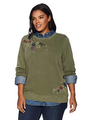 Lucky Brand Women's Plus Size Embroidered Flowers Sweatshirt