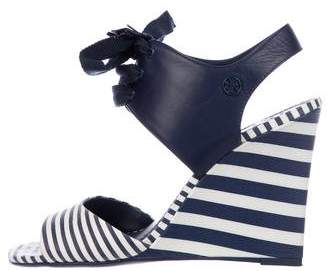 Tory Burch Leather Wedge Wrap-Tie Sandals