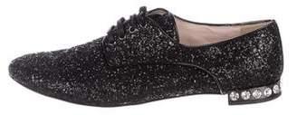 Miu Miu Glitter Lace-Up Oxfords