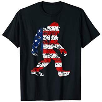 American Flag Bigfoot Silhouette Patriotic 4th July Tshirt