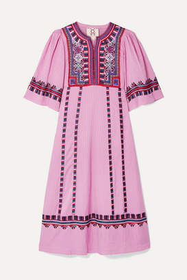 Figue Electra Embroidered Striped Voile Midi Dress - Baby pink