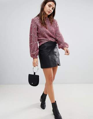 Blank NYC leather effect mini skirt