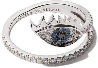 Delfina Delettrez 18kt white gold, diamond and sapphire Marry Me Eye ring